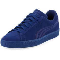 Puma Classic Badge Suede Sneaker ($46) ❤ liked on Polyvore featuring men's fashion, men's shoes, men's sneakers, blue, mens suede lace up shoes, mens navy blue sneakers, mens platform shoes, puma mens sneakers and mens suede shoes