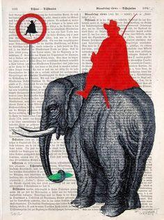 """Ein giclée Druck  """"mixed-media"""" auf einer authentischen Buchseite von 1890 - 1910. Der Druck ist per Hand mit Acrylfarben nachkoloriert und signier..."""