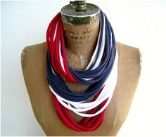 T Shirt Necklace for Her / Red White Navy Blue / Long by ohzie, $15.00