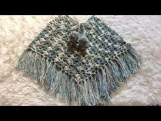 Poncho de Crochê Ana Lu - YouTube Crochet Baby Sweaters, Knit Crochet, Crochet Poncho Patterns, Knitting Videos, Free Pattern, Girl Fashion, Shawls, Kids Punch, Soft Towels