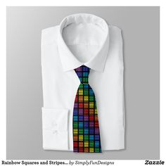 Rainbow Squares and Stripes Black Tie