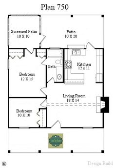 http://texastinyhomes.com/plan-750/ Amazing floor plan. Could also put a loft over the small bedroom and turn the covered patio into another bathroom!