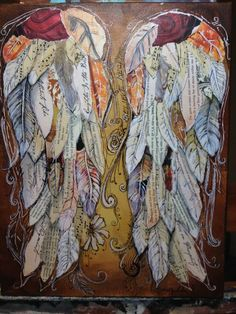 Wings Of Love mixed media painting  Law Of by grafittigirl on Etsy, $80.00