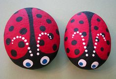 Ladybug rocks. I made my Mama one of these from Camp Wesley Woods sponsored by United Methodist Church in Townsend, Tn when I was 10 years old. The woman still has that rock - she uses it as a door stop (it was a river rock)!