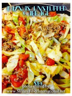 Tayna's Unstuffed Cabbage Rolls Ingredients: 1 to 2 pounds lean ground beef 1 tablespoon olive oil 2 large onion, chopped 2 cloves garlic,. Healthy Cooking, Healthy Eating, Cooking Recipes, Unstuffed Cabbage Rolls, Small Cabbage, Whole Food Recipes, Healthy Recipes, Yummy Recipes, Healthy Treats