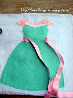 Tie the ribbon quiet book page. Pretty!