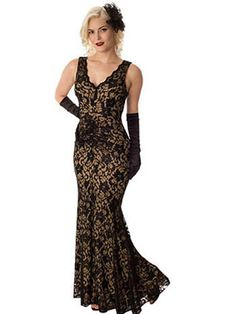 Vintage Style Black Lace Nude Jersey Evening Gown   #eveninggown #vintageinspiredgown #BlackLaceGown