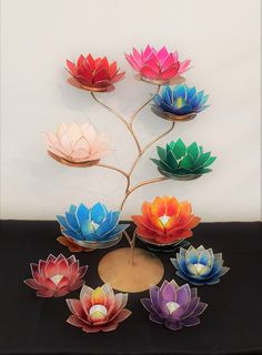 A beautiful selection of Lotus Candle Holders made from Capiz Shell. Diy Crafts For Home Decor, Diy Crafts Hacks, Diy Crafts For Gifts, Diwali Decoration Items, Diwali Decorations At Home, Diwali Diy, Diwali Craft, Nylon Flowers, Paper Flowers Diy