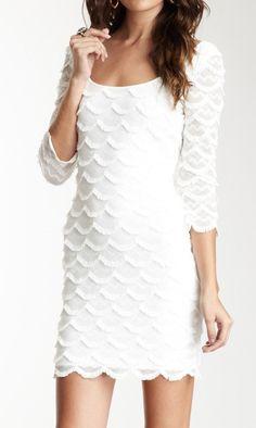 GUESS 3 4 Length Sleeves Scalloped Fringe Dress Fringe Skirt 0b3c831497c