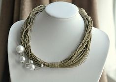 Anna  White Pealrs dance on Linen Necklace by Cynamonn on Etsy, $35.00