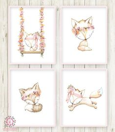 4 Fox Floral Woodland Boho Wall Art Print Bohemian Nursery Baby Girl Room Set Lot Prints Printable Home Decor
