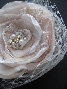 Vintage rustic shabby chic woodland bridal hairpiece by LeFlowers,