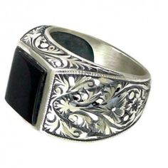 Sterling Silver 925 men ring ,ethnic design with blac amber natural stone .