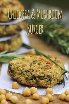 Chickpea & Mushroom Burger (vegan, gluten-free)