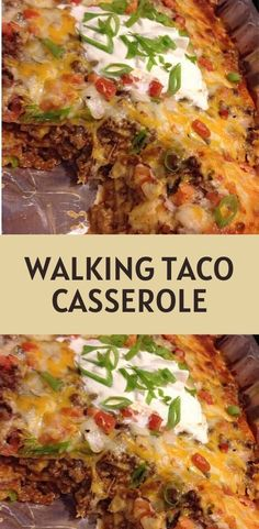 Walking Taco Casserole - Ingredients: 1 pounds ground beef large onion, chopped 1 can green chilies, small can - Mexican Cooking, Mexican Food Recipes, Dinner Recipes, Low Carb Mexican Food, Easy Casserole Recipes, Casserole Dishes, Chicken Taco Casserole, Mexican Lasagna Chicken, Sauce Enchilada