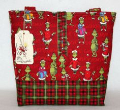 Dr Seuss Grinch Christmas Handmade Tote Bag Handbag Purse Free SHIP Red | eBay