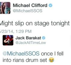 I love when band members from two different bands interact with each other on social media