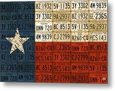 License Plate Map Metal Print featuring the mixed media Texas Flag The Lone Star State License Plate Art by Design Turnpike