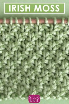 It's the luck of the Irish! Learn how to Knit the Irish Moss Knit Stitch Free Knitting Pattern + Video Tutorial by Studio Knit. It's the luck of the Irish! Learn how to Knit the Irish Moss Knit Stitch Free Knitting Pattern + Video Tutorial by Studio Knit. Knitting Stiches, Knitting Videos, Easy Knitting, Knitting For Beginners, Loom Knitting, Knitting Socks, Crochet Stitches, Knitting Patterns, Crochet Patterns