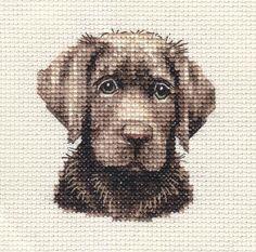 CHOCOLATE LABRADOR RETRIEVER dog, puppy cross stitch kit by Fido Stitch Studio