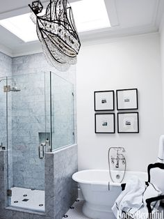 """Nautical Chandelier    The crystal ship chandelier """"was a whimsical last-minute selection,"""" says designer Ken Fulk about the master bath in a Victorian San Franciscan house."""