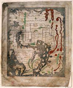 Anglo-Saxon world map, England (Canterbury) 2nd quarter of the 11th century, Cotton MS Tiberius B V, f. 56v