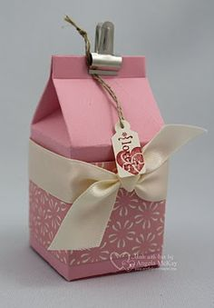 """Stamp Set(s): Tiny Tags  Paper: Pretty In Pink, Very Vanilla, #117153 Sending Love Specialty DSP  Ink: Real Red  Embellishments: 5/8"""" Very Vanilla Satin Ribbon, #112580 Clips Assortment, Linen Thread  Sizzix: #117310 Stampin' Up! Mini Milk Carton  Tools: Mat Pack, Paper Piercer  Adhesives: Snail, Sticky Strip  Punches: Medium Jewelry Tag"""