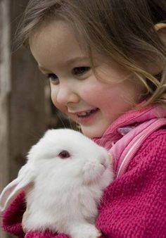 My lovely rabbit. Little girl hugs the little rabbit , Animals For Kids, Animals And Pets, Baby Animals, Cute Animals, Cute Kids, Cute Babies, Somebunny Loves You, Tier Fotos, Beautiful Children