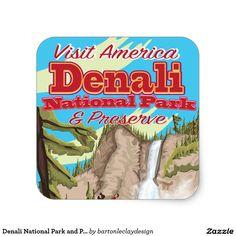 Denali National Park and Preserve Travel Poster Square Sticker