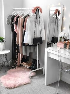 Wardrobe + beauty room. Makeup vanity from Ikea (Malm dressing table), Target chair, Kmart rug, Ikea clothing rack, Kmart side table ||