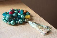 Teal Beaded Stack Bracelets with Gold Tassel  by TealAndMagenta, $23.20