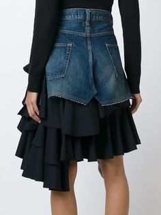 layered ruffled denim skirtt