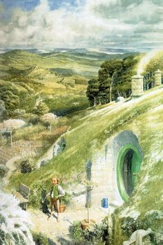 The shire - Alan Lee This guy's art is all over the LOTR section of Pinterest. Good on him.