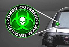2x GREEN SKULL ZOMBIE OUTRBREAK RESPONSE TEAM  Funny DecalSticker for outdoor and indoor notebooks books car doors wall deco etc 5 inches * Click on the image for additional details.Note:It is affiliate link to Amazon.
