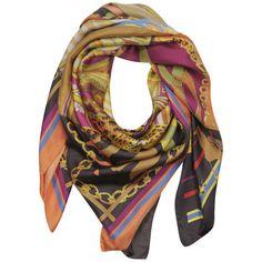 Codello Retromania Pattern patch multi print silk scarf in black and multicoloured...I want this!