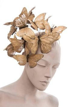 Philip Treacy Headband With Matte Gold Butterfly Appliqués And Jewel Accents at 1stdibs