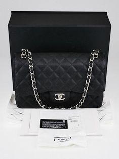 160564f22f62 Chanel Black Quilted Caviar Leather Classic Jumbo Double Flap Bag - Yoogi s  Closet  Guccihandbags