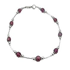 Womens Amethyst Colored Czech Glass & Sterling Silver Ladies Beaded Gemstone Anklet w/ Daisies