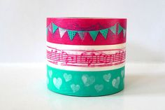 Party Time Japanese Washi Tape  PINK Garland Music by PrettyTape, $8.25