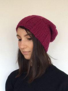 Hand Knit Beanie in Burgundy Red Slouchy Hat Wool by woolpleasure