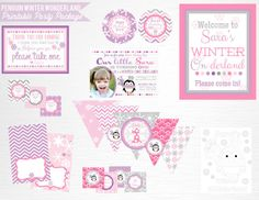 Pink Girl Penguin Party Printable Invitation by Print POP Party    This is an example of what we can do, if you want to add/subtract items from