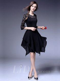Half Sleeves Pleated Dress