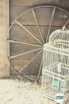 Southern Vintage rustic vintage accent pieces, wood wheel and Victorian white bird cage for unique details at your rustic vintage wedding
