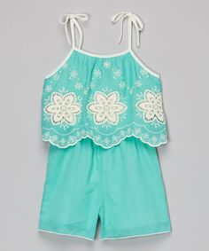 Another great find on #zulily! Mint Embroidered Romper - Girls #zulilyfinds
