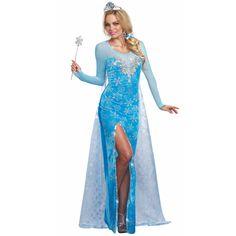 Kostüm Eisprinzessin für Damen. Langes Samtkleid mit silbernen  Eiskristallen auf Organzastoff gedruckt. Gesehen bei 2a4a6f9bac