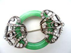 Vintage Art Deco Fx Jade Peking Glass Brooch for Repair Needs Rhinestones 1920s   eBay
