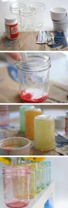 Tinted Rainbow Mason Jars