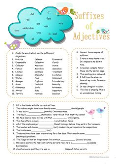 Suffixes of Adjectives worksheet - Free ESL printable worksheets made by teachers