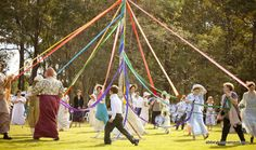 Maypole dancing is one of the genteel activities to enjoy at the Picnic at Pemberley, a Jane Austen era event at the Abbey Museum.  If you are looking for things to do on the Sunshine Coast, come along! www.facebook.com/AbbeyMuseum