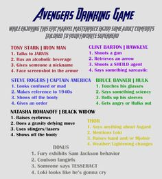 Avengers Drinking Game, but for anyone under drinking age, do something like eat a gummy bear or a piece of popcorn.